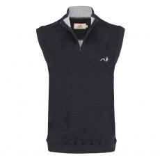 Woodworm Sleeveless Sweater Vest with Zip - Grey