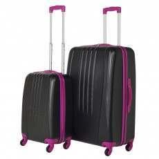 Swiss Case 4 Wheel Bold 2Pc Suitcase Set - Black / Pink