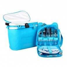 Confidence Picnic Basket Bright Blue Polkadots