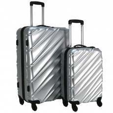 Swiss Case 4 Wheel Wave 2Pc Suitcase Set - Silver