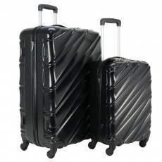 Swiss Case 4 Wheel Wave 2Pc Suitcase Set - Black
