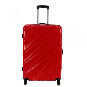"""Swiss Case 28"""" 4 Wheel Wave Large Suitcase Red"""
