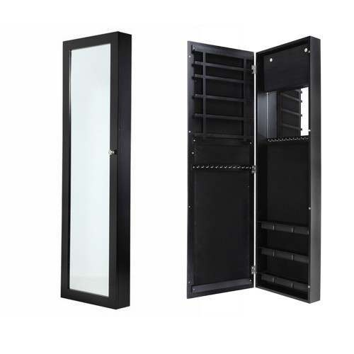 Homegear Wall Mounted Mirrored Jewellery Cabinet